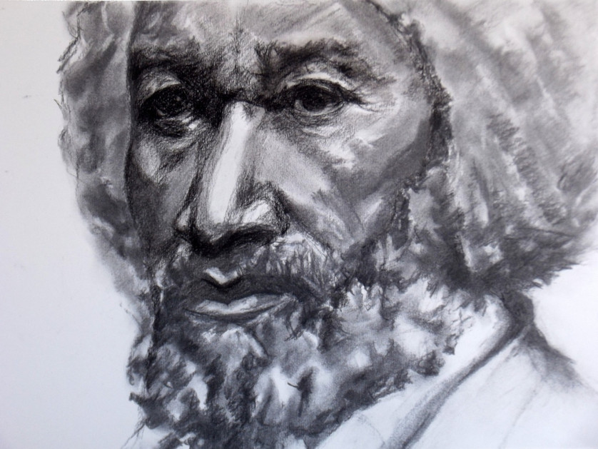 Frederick Douglass, black charcoal on paper, 17 x 11.5 cm, 2014