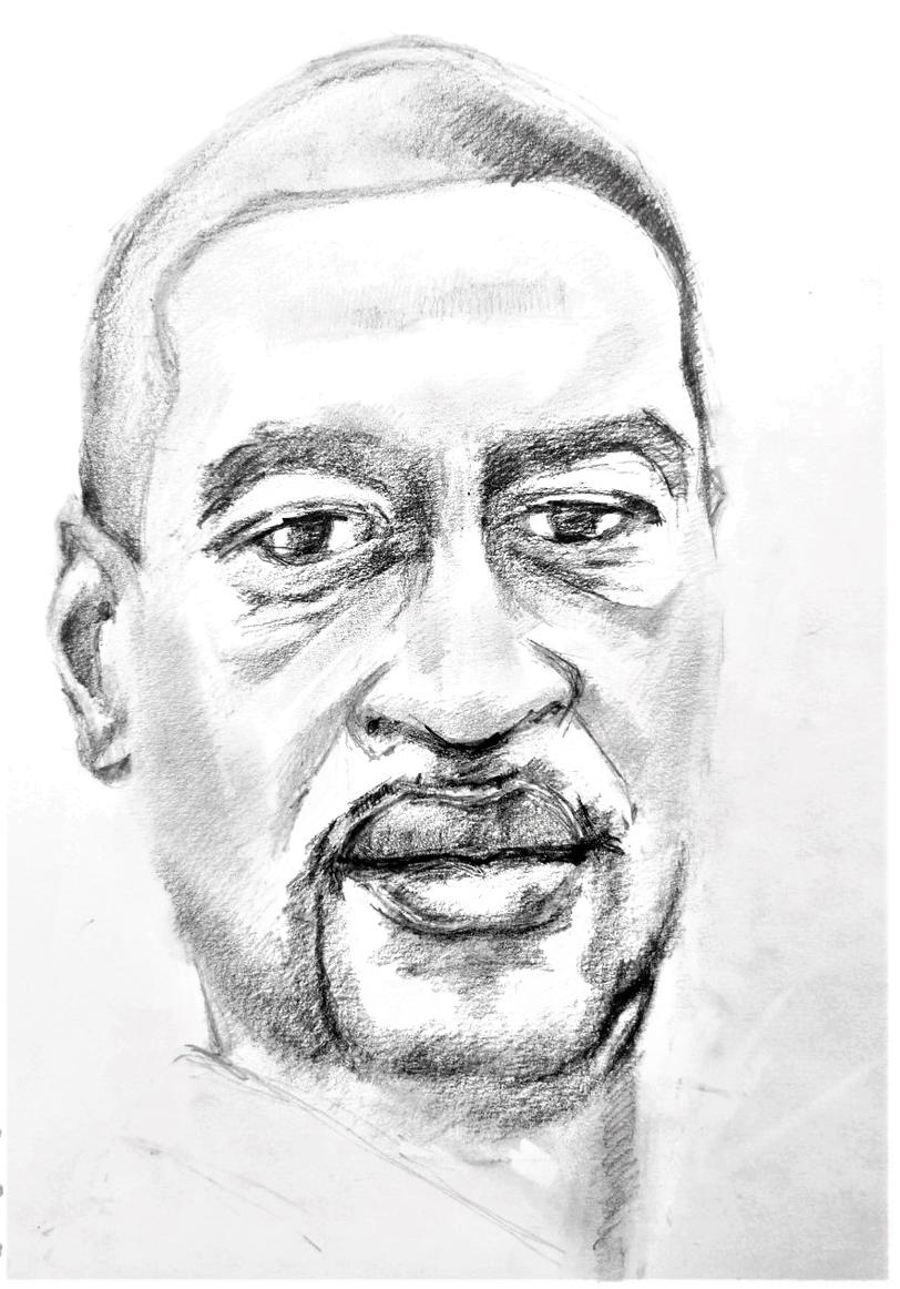 George Floyd, graphite pencil sketch on paper, 30 x 21 cm, 2020