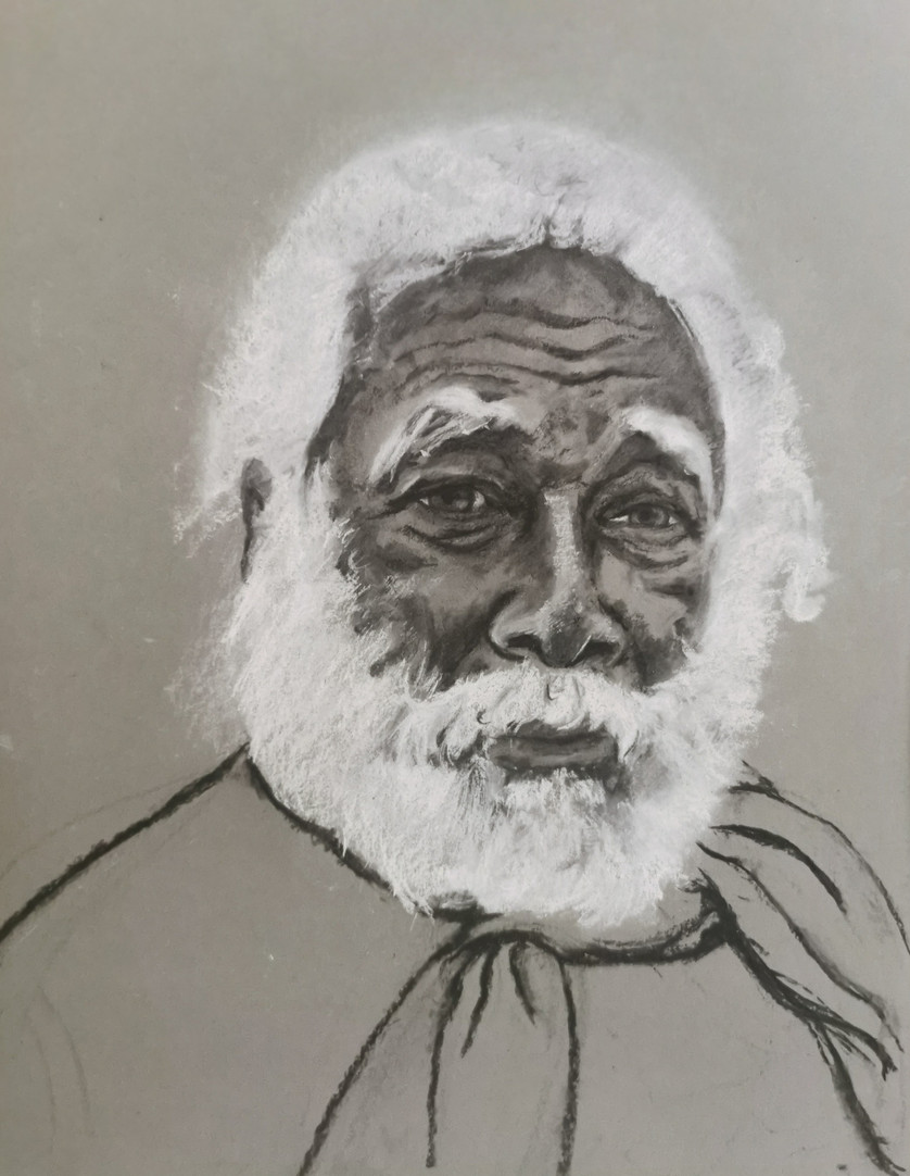 Charlie, black, grey and white charcoal on toned paper, 43 x 30 cm, 2021