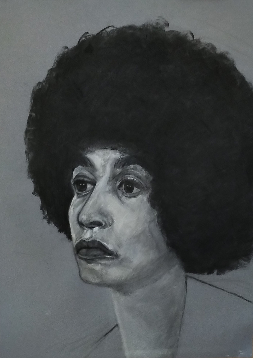 Angela, black and grey charcoal on toned paper, 60 x 45 cm, 2019