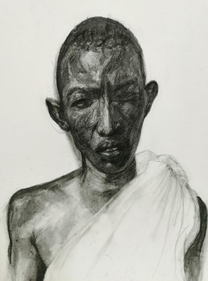 Masai, black charcoal on paper, 43 x 30 cm, 2016