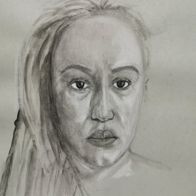 Self-portrait, watercolour on toned paper, 50 x 40 cm, 2018