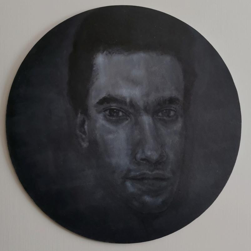 Huey, oil paint on canvas board, 40 x 40 cm, 2020