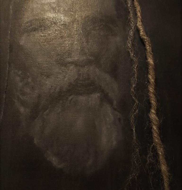 Dreadlocked Black man, oil paint on canvas board, 70 x 50 cm, 2020