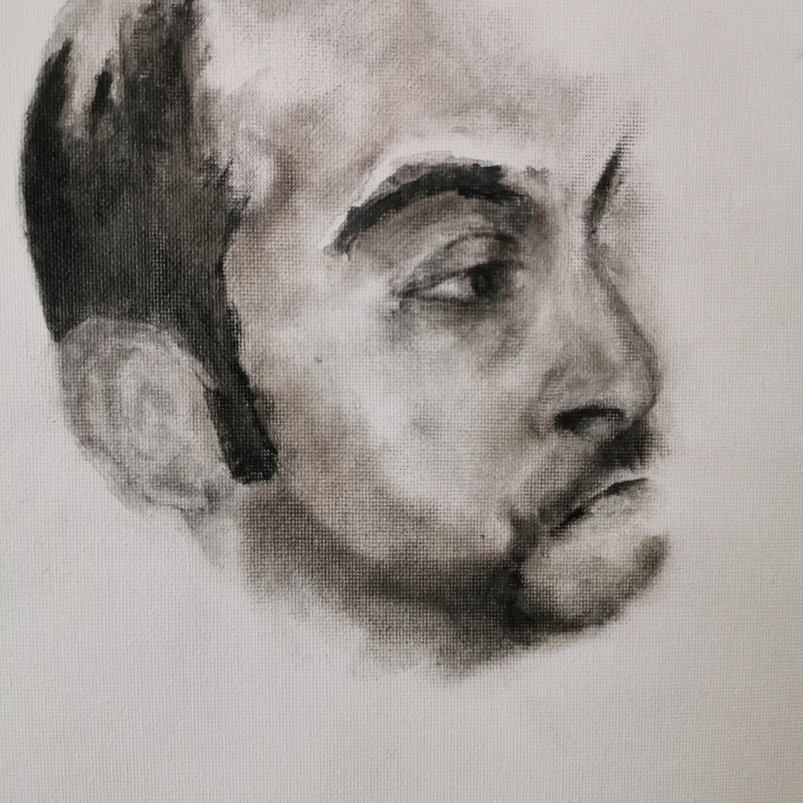 Covid-19, Dr Vishna Rasiah, oil paint on canvas sheet, 30.5 x 40.6 cm, 2020