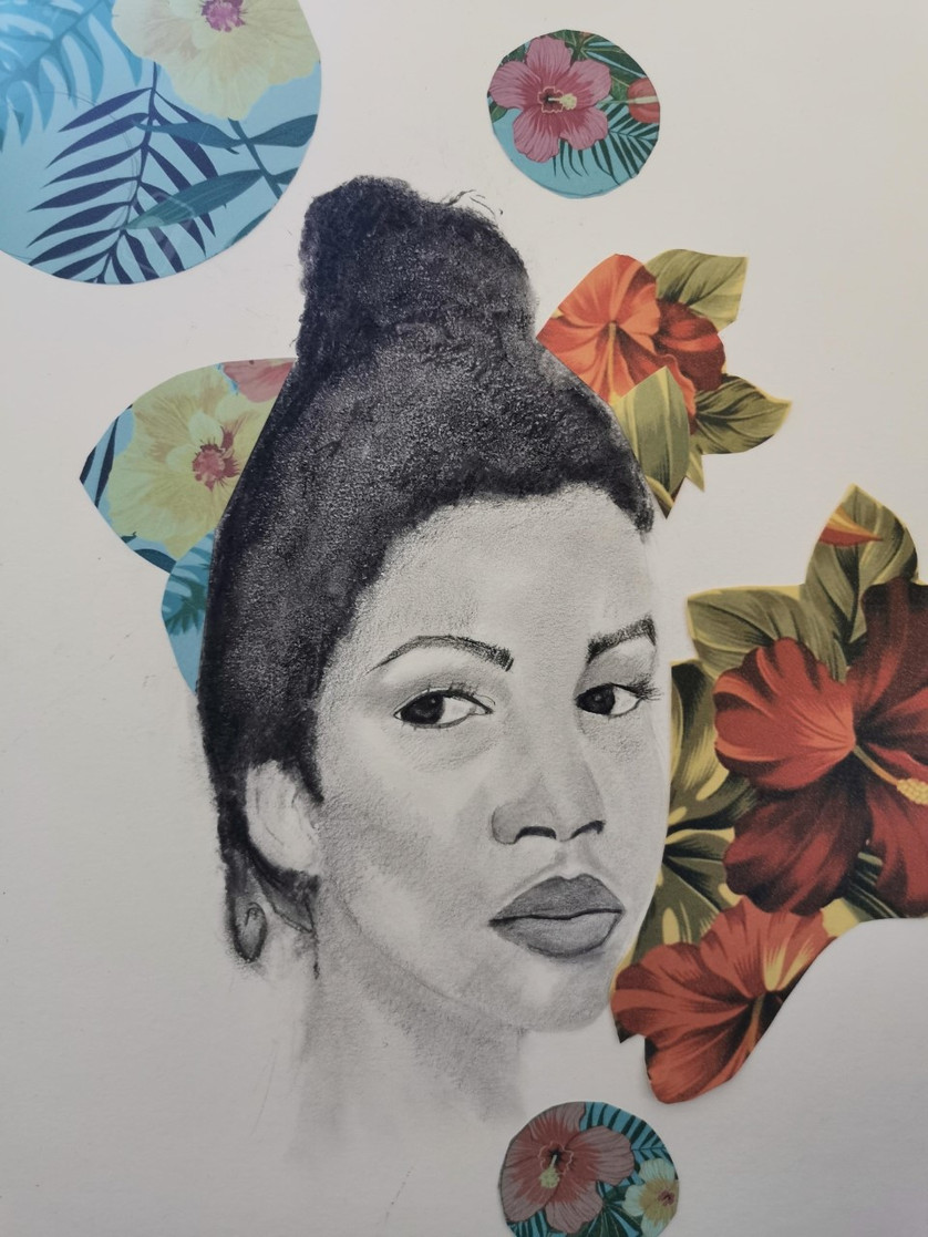 Kemosha, graphite pencil drawing on paper with collage, 42 x 30 cm, 2021