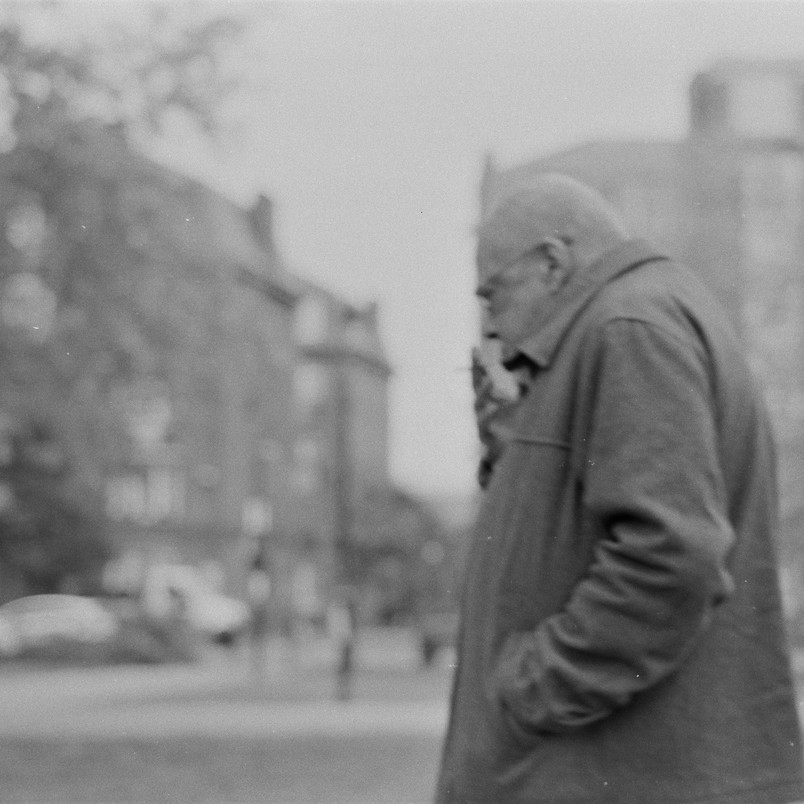 Man in Camberwell Green Park, black and white film image,  Fujica ST605 vintage camera, 2019