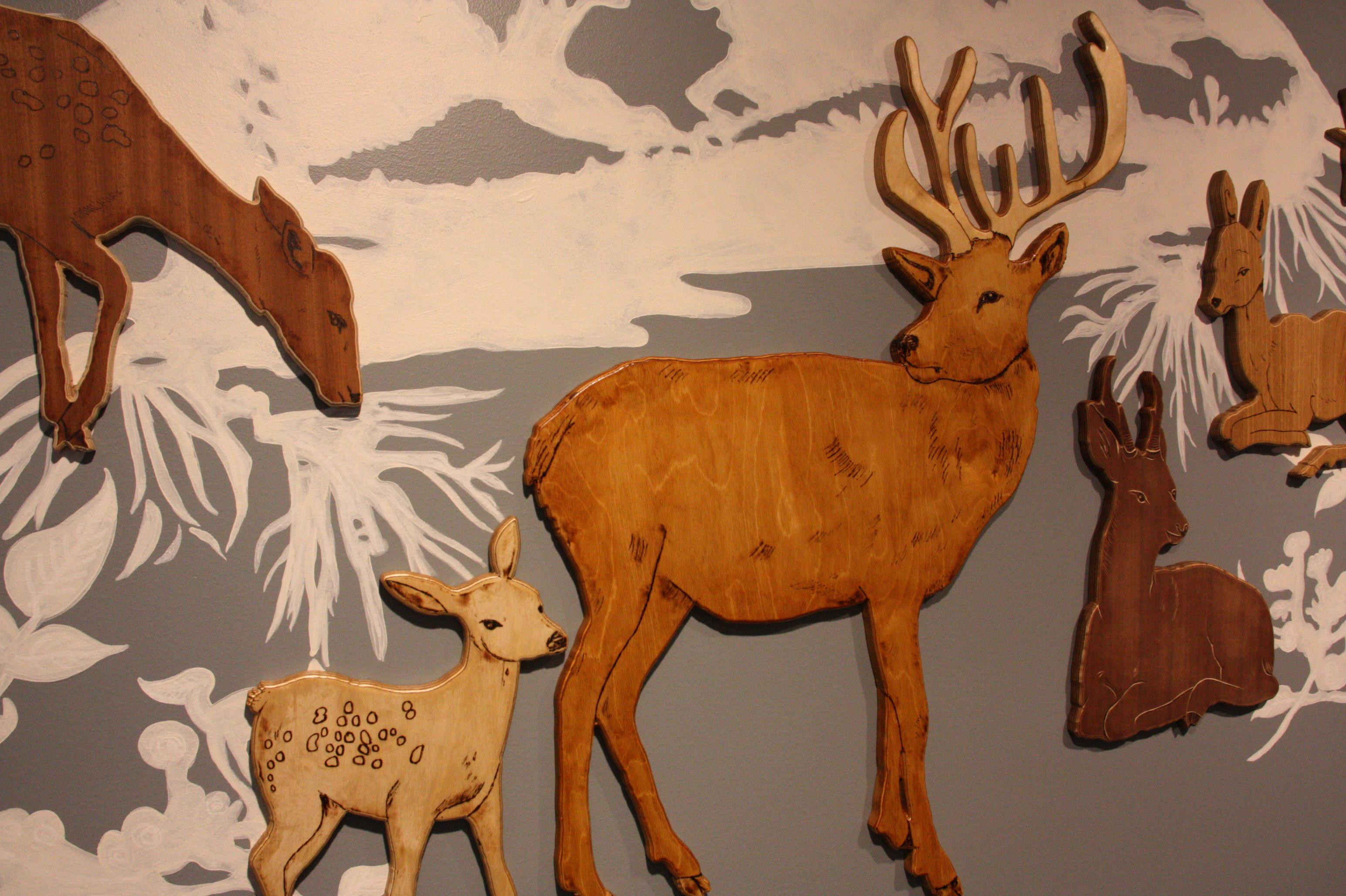 Deers, differnt dyed wood