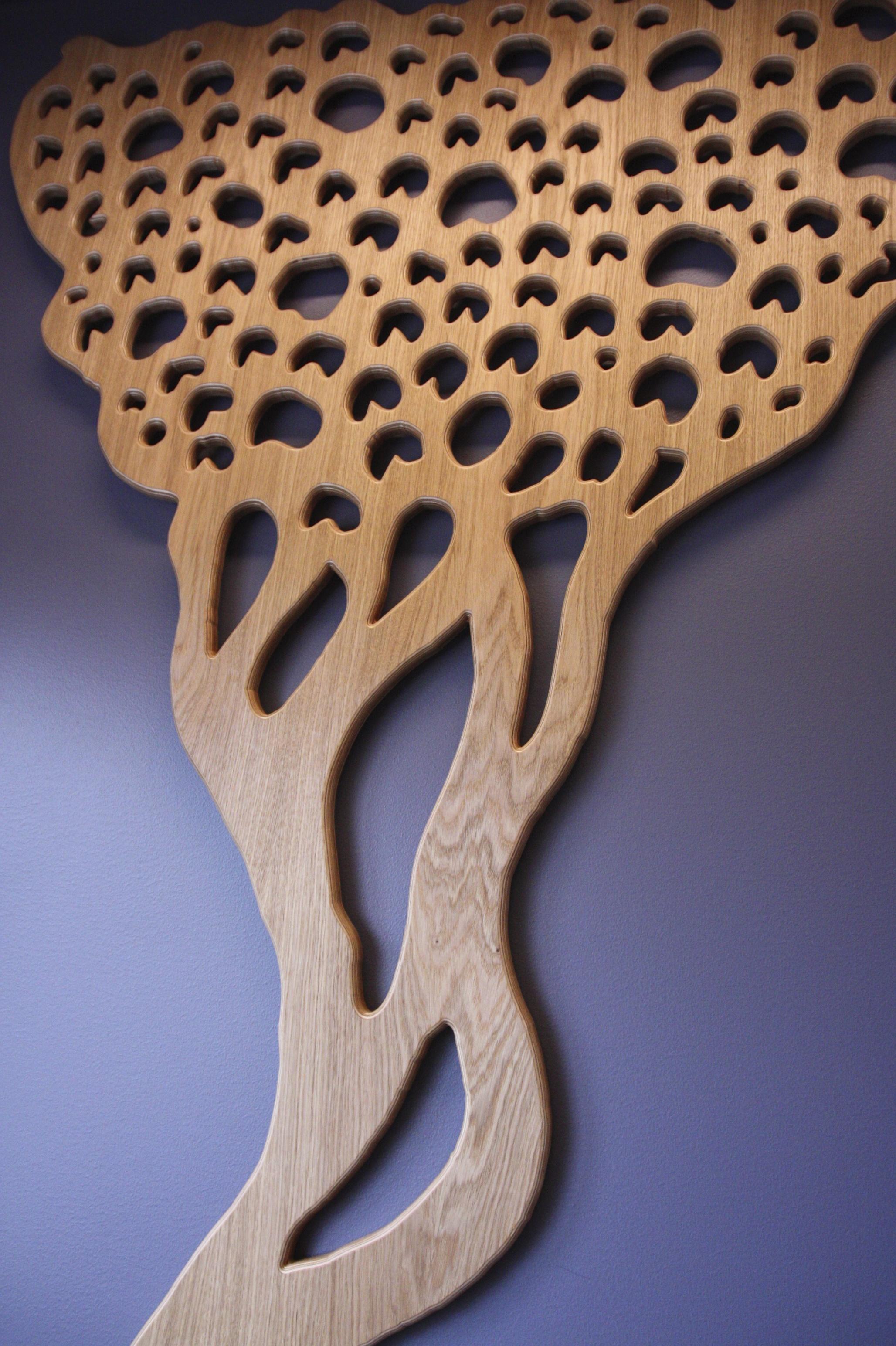 cnc-cut oak. 230x150cm