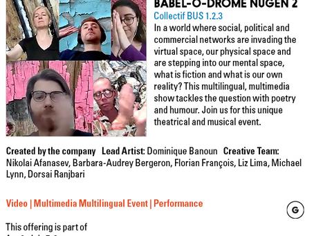 un résumé de la présentation de Babel-o-drome NUGEN 2 qui commence demain pour trois jours seulement