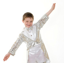 Silver sequin tap tails child bot shorts