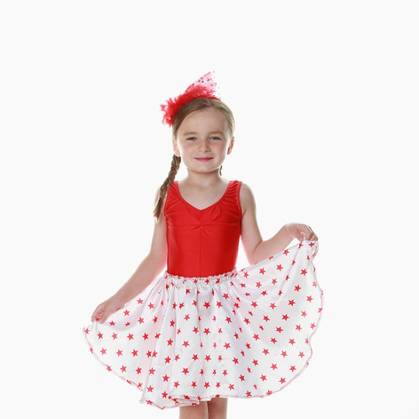 Red white star skirt leo child teen 2 pi