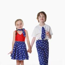 Usa stars red blue girl boy skirt trouse