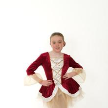 Wine tudor tutu child ballet gold white.