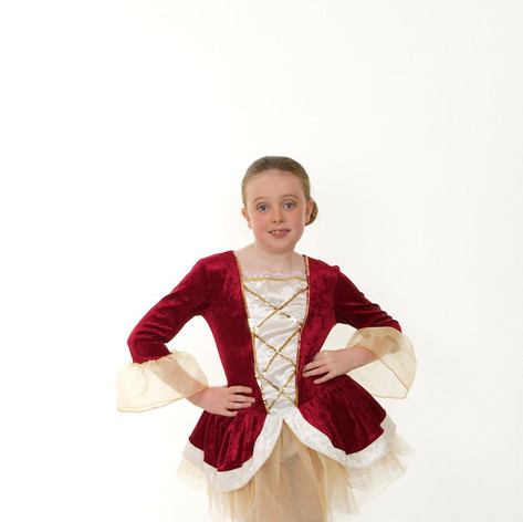 Wine tudor tutu child ballet gold white.