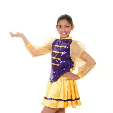Yellow purple sequin munchkin marching b