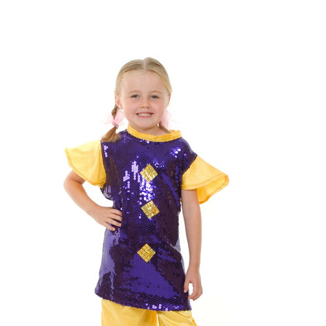 Yellow purple sequin munchkin suit child