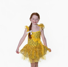 Gold yellow latin sequin frill dress chi