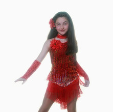Red multi fringe latin dress shorts span
