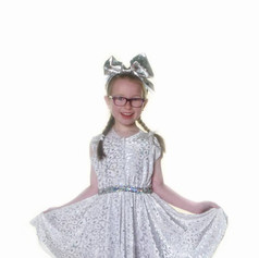 White silver dress child teen skater tap
