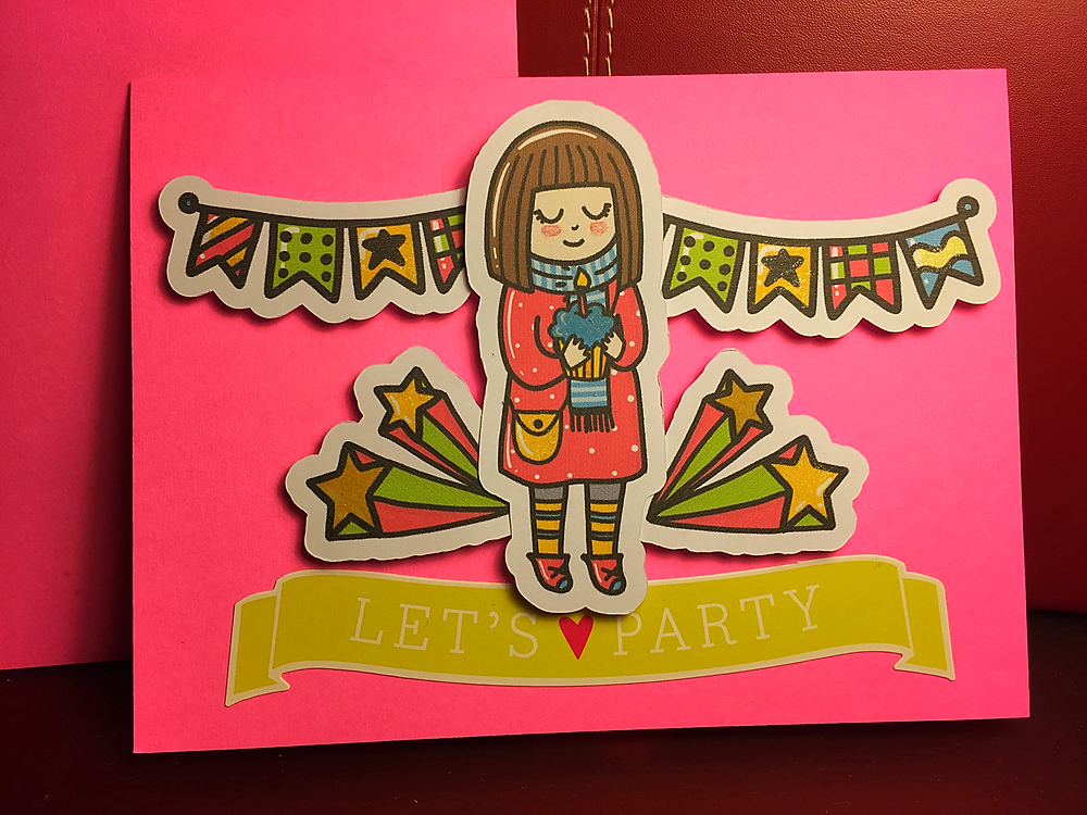 Birthday die cuts and Let's Party sticker against a hot pink blank 5x7 card