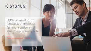 FQX leverages Sygnum Bank's DCHF stablecoin for instant settlement of electronic promissory note