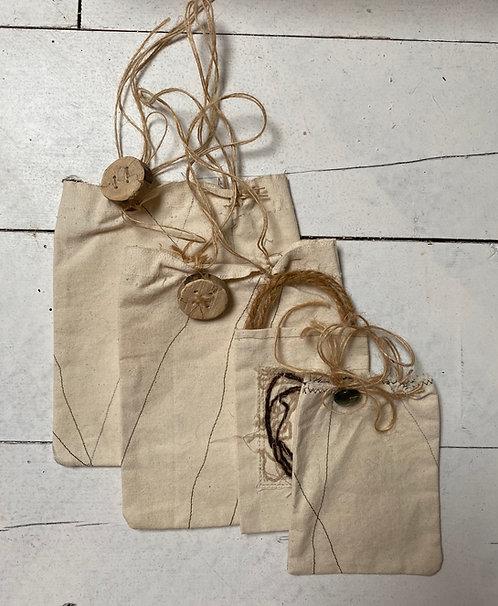Handmade reusable gift bags.