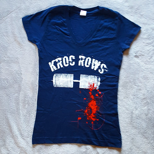 Kroc Row T-shirt Navy Blue *v-neck feminine cut