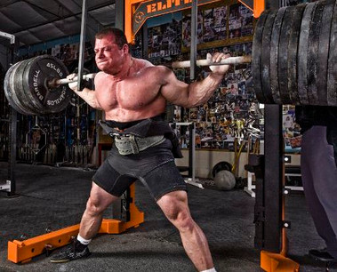 Squatting close to a 1,000lbs for a MuscleTech photo shoot at the famed Elitefts.com compound gym in London, Ohio.