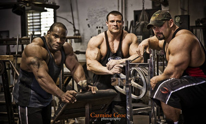 IFBB pro bodybuilders Johnnie Jackson and Branch Warren with me after training together in the famed MetroFlex gym in Arlington, Texas.