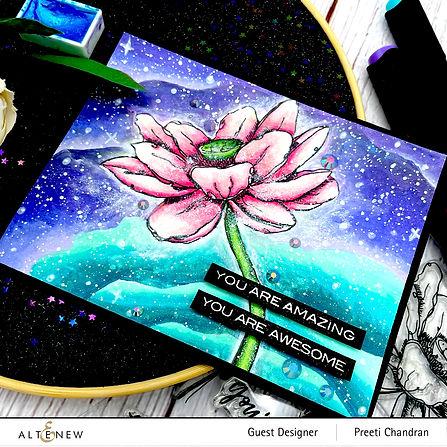 Altenew Inked Lotus stamp-Artit Markers
