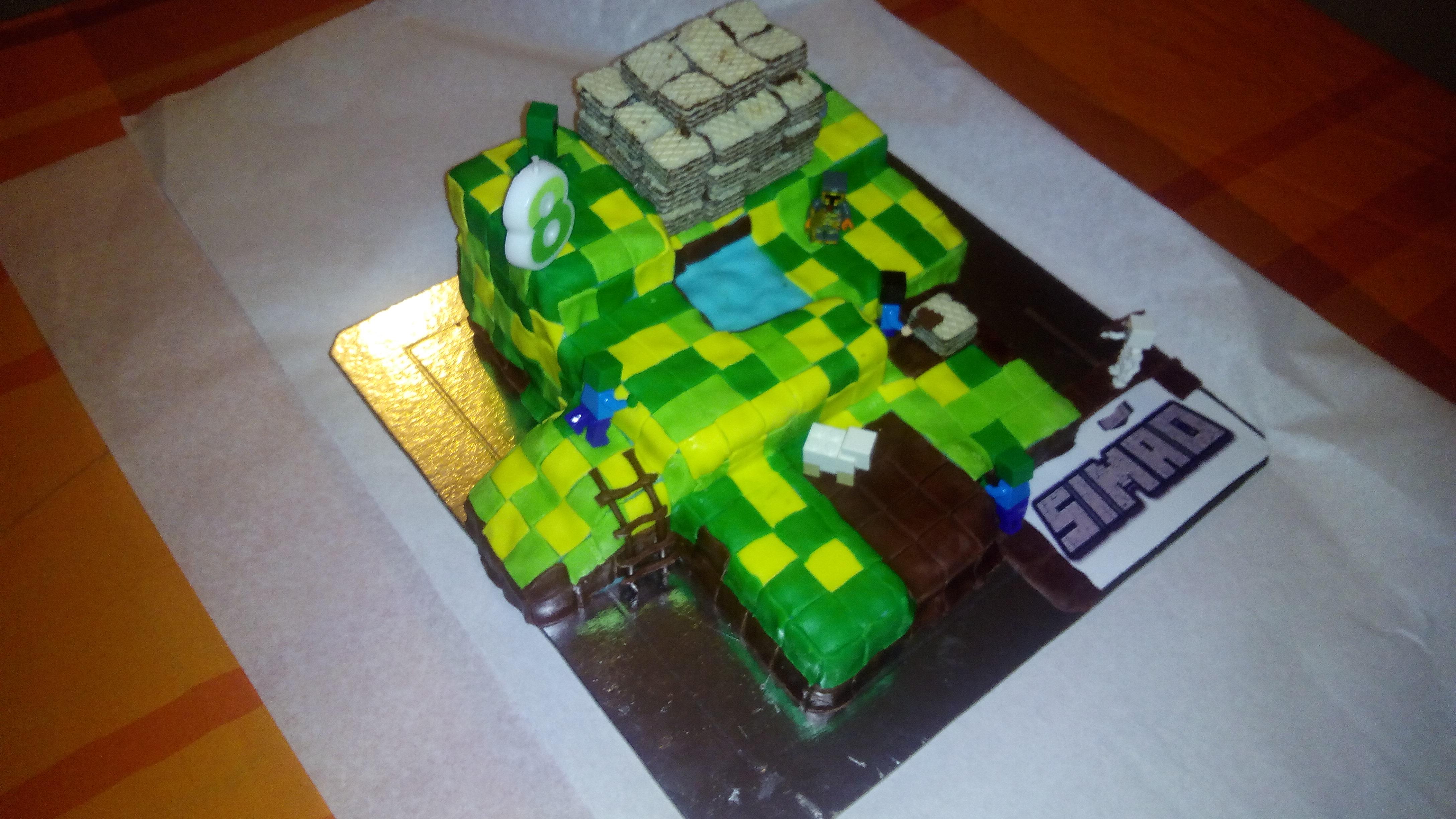 Bolo Minecraft Simão 8 anos