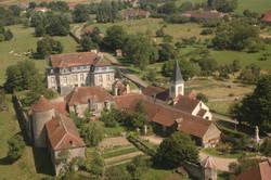 Vue aérienne, Château de Flée