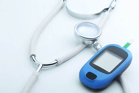 blood-glucose-meter-stethoscope-white-ba