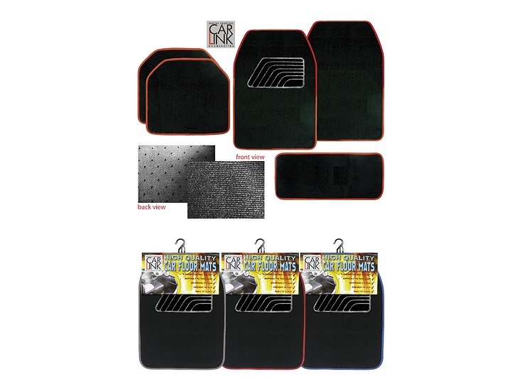 Universal Car Floor Mats B-03 with Colour Lines (Red)