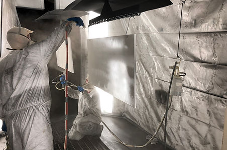 Insie the Class-A commercial finish line paint booth spraying aerospace coating