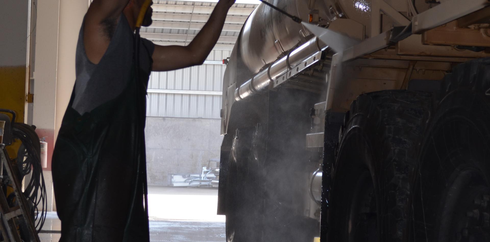 Washing a HEMTT