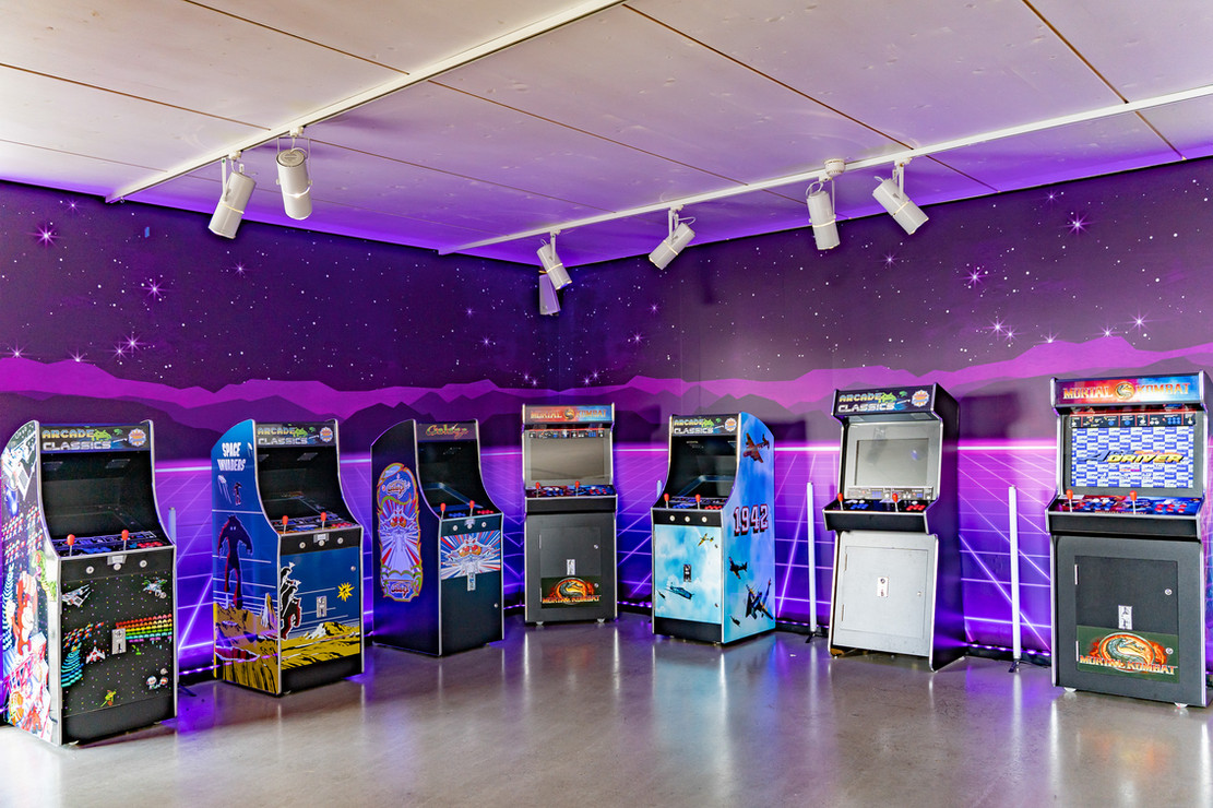 Slot machines, showroom - staged at the OnePlus pop-up event, Berlin, May 18, 2019