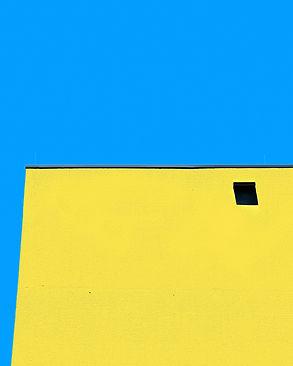 Johanna Weber Photography Munich Surreal Urban Landscape Colorful Architecture  Artificial Minimalism Graphic Fassade Buildings Collage Lines Blue sky Rowhous Houses Urban LandscapeHous