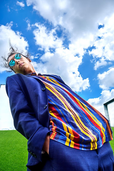 Johanna Weber Photography Munich Tangled in Blue Portrait Male Surreal Landscape Colorful Blue Architecture Editorial Sky Sunglasses Artificial Suit Sweets Candy Model