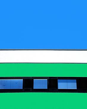 Johanna Weber  Urban Landscape Photography Munich Surreal Urban Landscape Colorful Architecture  Artificial Minimalism Graphic Fassade Buildings Collage Lines Blue sky Rowhous Houses Hous