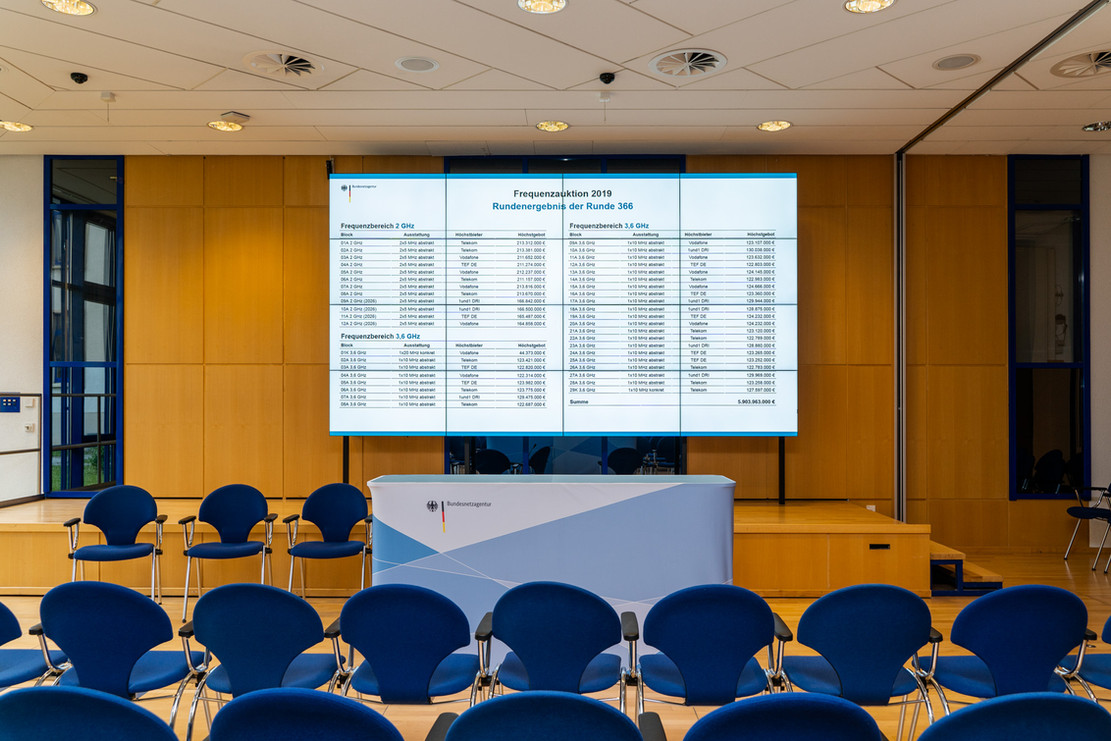 Rundenergebnis der 5G - Auktion, Bundesnetzagentur, Mainz, 20. Mai 2019