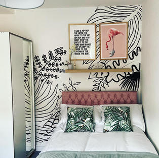 Monochrome plant feature wall