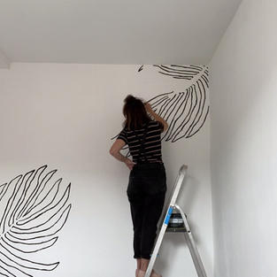 Monochrome plant wall