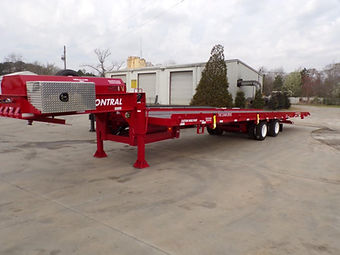Drop deck container delivery trailer for a semi