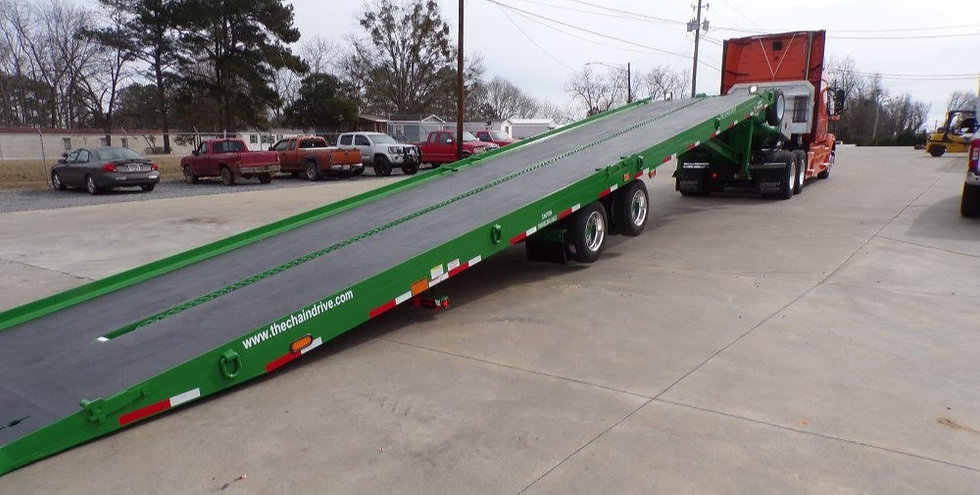 Drop deck container delivery trailers for use with a semi tractor truck move 20' and 40' high cube containers chain drive