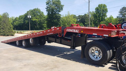 Heavy equipment and load container delivery trailer 100,000 lb GVW tilt deck roll back