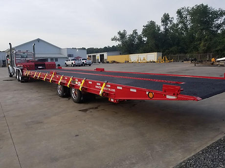 Heavy equipment tandem axle trailer with tilt deck and chain drive for containers 20 40 53 foot loaded