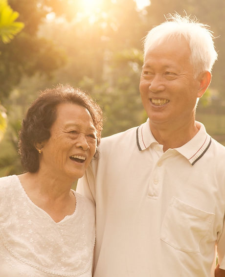 Portrait of healthy and happy Asian seniors retiree couple having fun at outdoor nature park, mornin