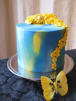 Bruidstaart blauw geel